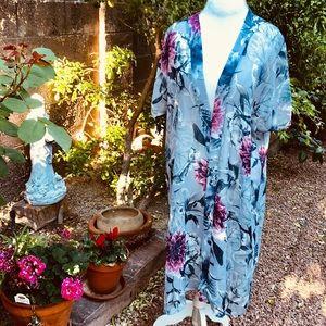 Sweaters - Long Bohemian Print Kimono Robe Coverup